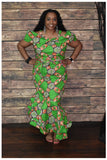 African Print Front Bow Dress