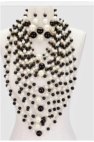 2 PC - Pearl Choker & Multi Layered Pearl Bib Necklace Black, Clear