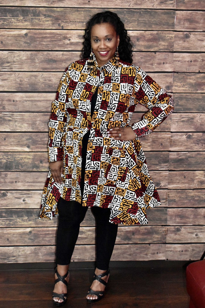 African Print Button-up High-low Top