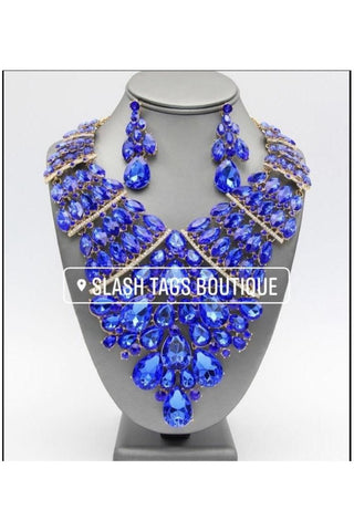 Crystal Statement Necklace Set Blue