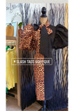 Leopard & Black Bowtie Dress