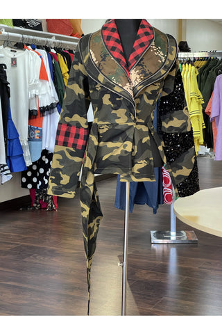 Camouflage Mixed Media Jacket