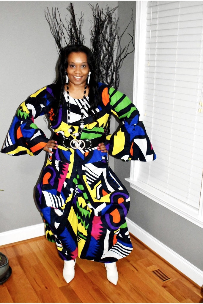 In Living Color Bell Sleeve Dress