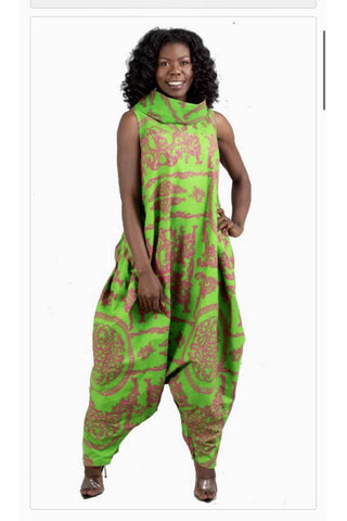 African Print Cowl Neck Zip up Jumpsuit - Slash/Tags Consignment Boutique