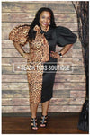 Leopard & Black Bowtie Dress - Slash/Tags Consignment Boutique