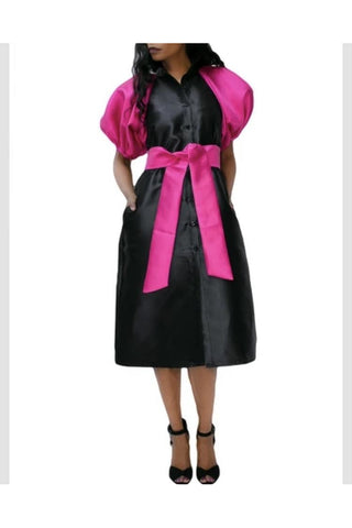 Black and Pink Puff Sleeve Buttoned Dress