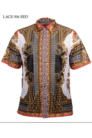 Greek Print Lace Shirt