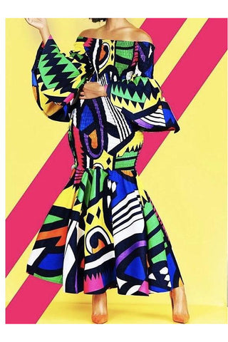 Living Color African Print Mermaid Dress