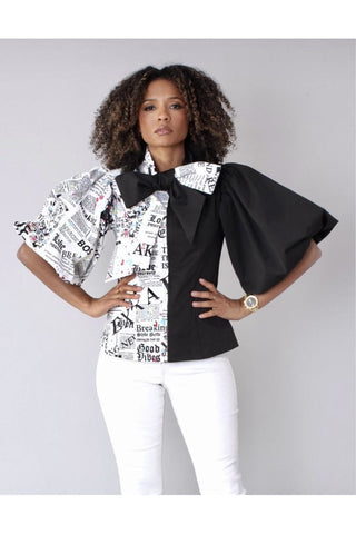 Newsprint Blouse