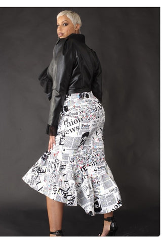 Newsprint Ruffle Hem Skirt