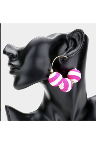Two Tone Thread Wrapped Triple Ball Metal Half Hoop Earrings
