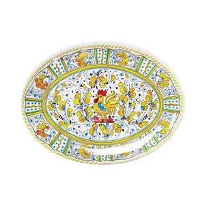 "Le Cadeaux 12"" Oval Platter - Rooster Yellow"