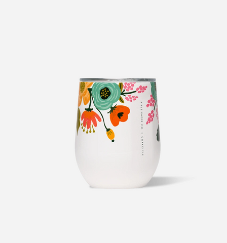 Corkcicle 12 oz Stemless - Lively Floral Cream