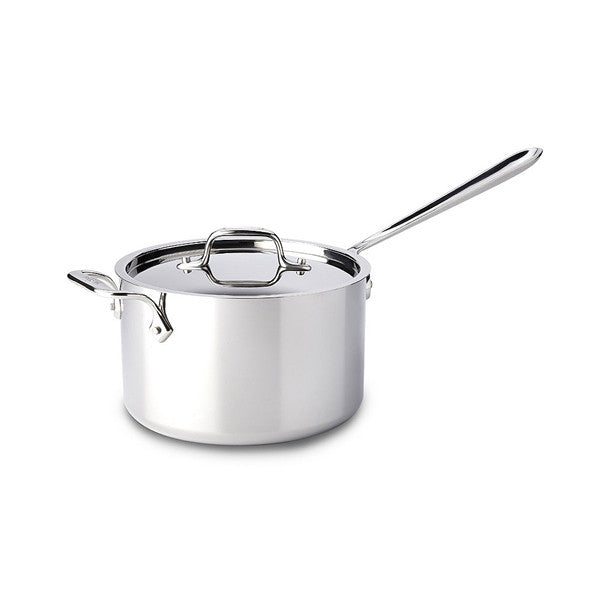 All-Clad d3 Stainless Sauce Pan with Loop Handle & Lid - 4 Qt