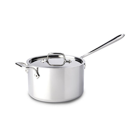 All Clad Stainless Steel Sauce Pan with Loop & Lid - 4 Qt