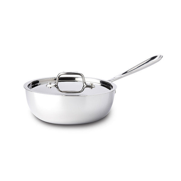 All-Clad d3 Stainless Saucier with Lid - 2 Qt