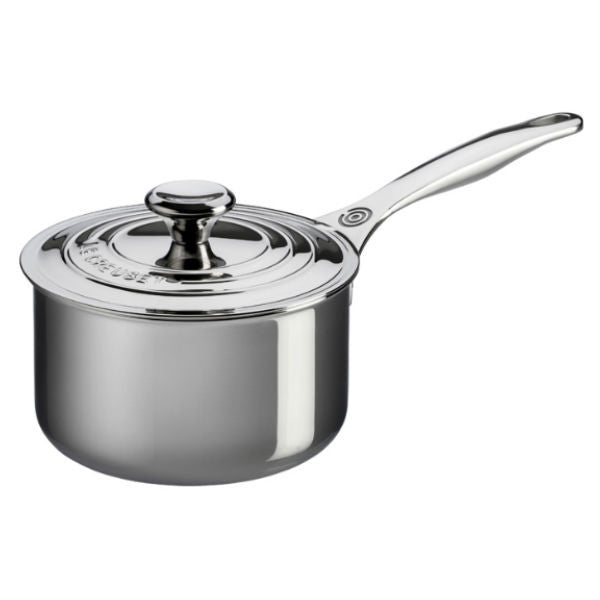 Le Creuset 4 Qt Stainless Steel Sauce Pan W Lid The Happy Cook