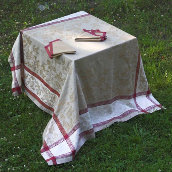 Linen Way Versailles Taupe & Red Tablecloths