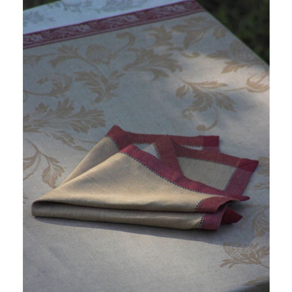 Linen Way Versailles Taupe & Red Napkins