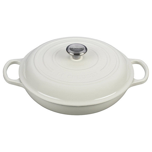 le creuset 3 75 qt signature braiser white the happy cook rh thehappycook com