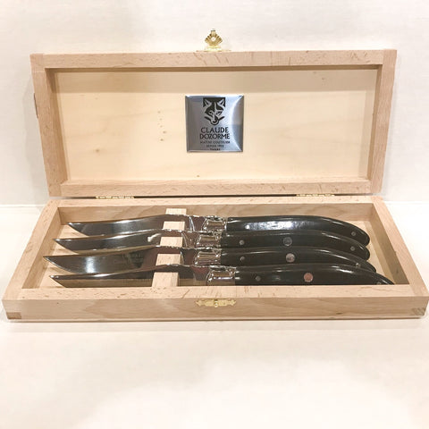 Claude Dozorme Laguiole Steak Knives - Ebony