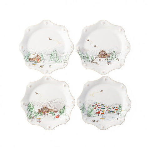 Juliska Berry & Thread North Pole Scallop Dessert Plates - Set of 4