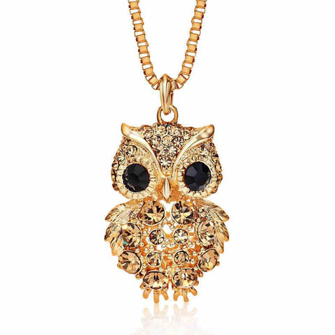 Antique Rhinestone Crystal Owl Necklace - Value Grabs