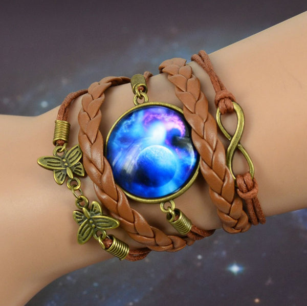 Elegant Leather Galaxy Charm Bracelet - Value Grabs