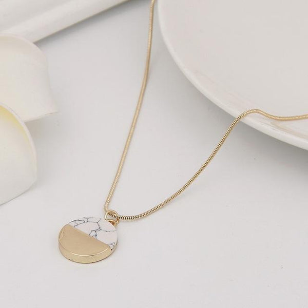 Gold Dipped Marble Pendant Necklace - Value Grabs