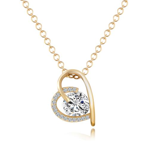 Gold Heart Zircon Crystal Necklace - Value Grabs
