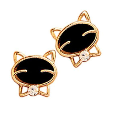 Smiling Black Cat Diamond Stud Earrings - Value Grabs
