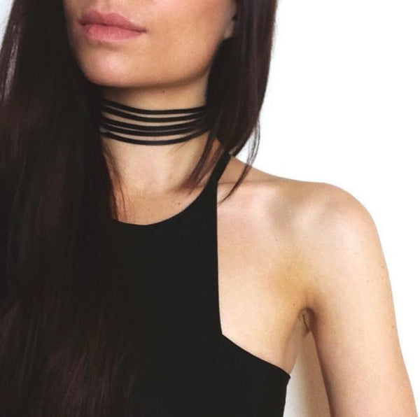 Vintage Leather Handmade 5-Layer Burlesque Choker - Value Grabs