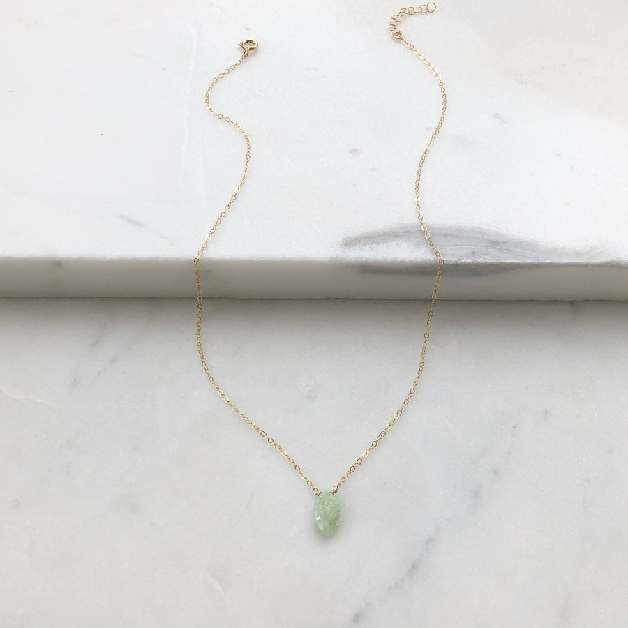 Druzy Green Opal Necklace - Token Jewelry