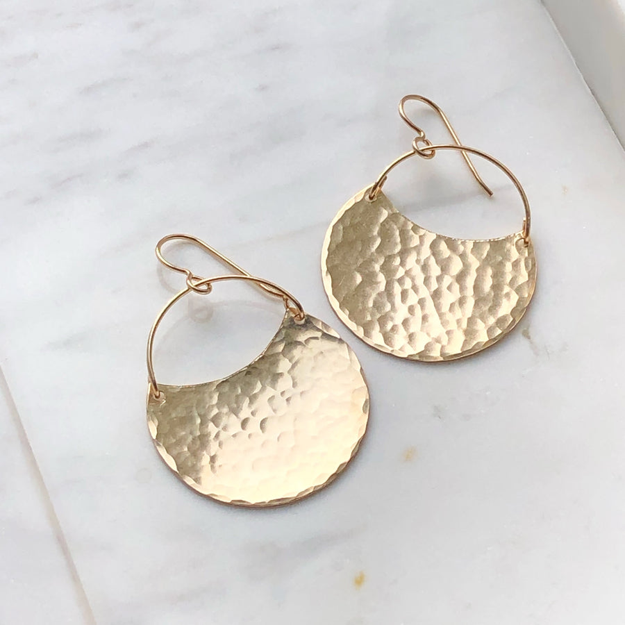 Theia Earrings // Hammered Finish - Token Jewelry Designs