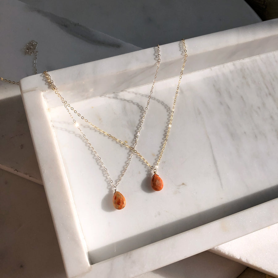 Coral Teardrop Necklace - Token Jewelry Designs