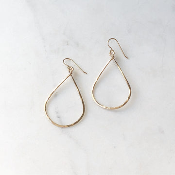 gold teardrop hoop earring gold fill sterling silver  Edit alt text