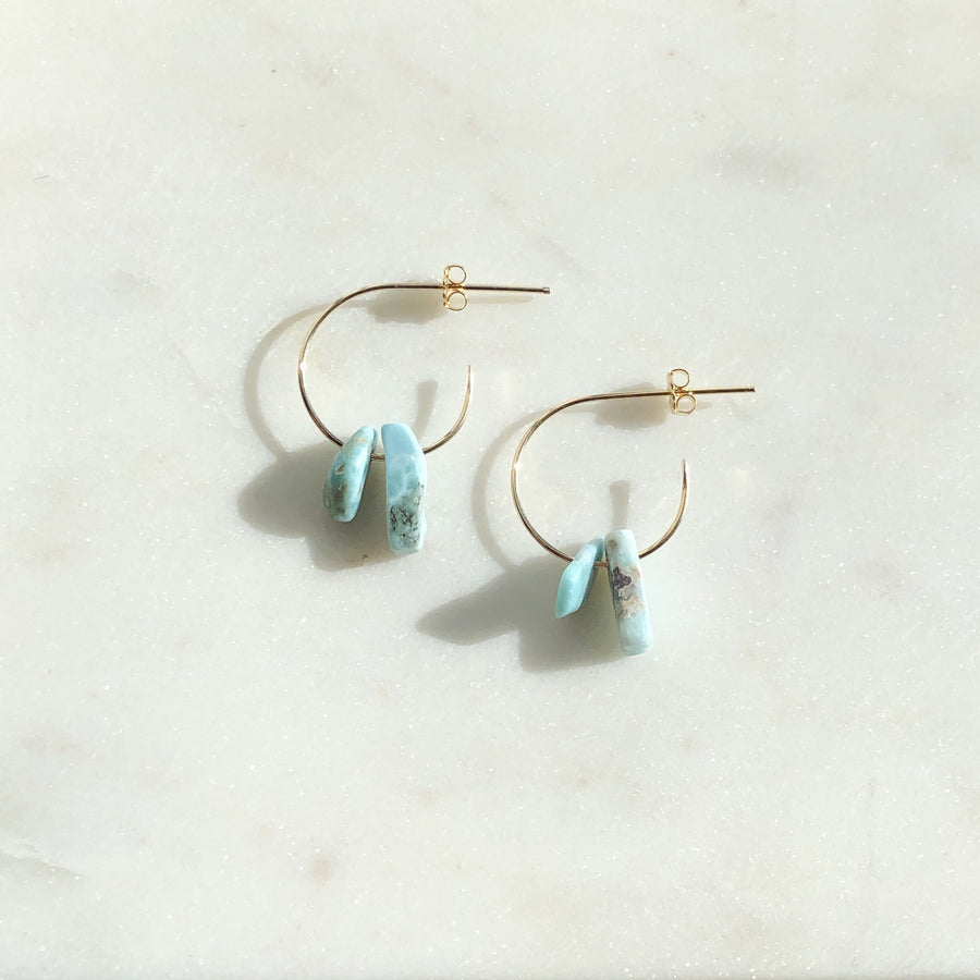 Birdie Hoops with Larimar - Token Jewelry Designs