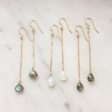 Gemstone Drop Earrings - Token Jewelry Designs