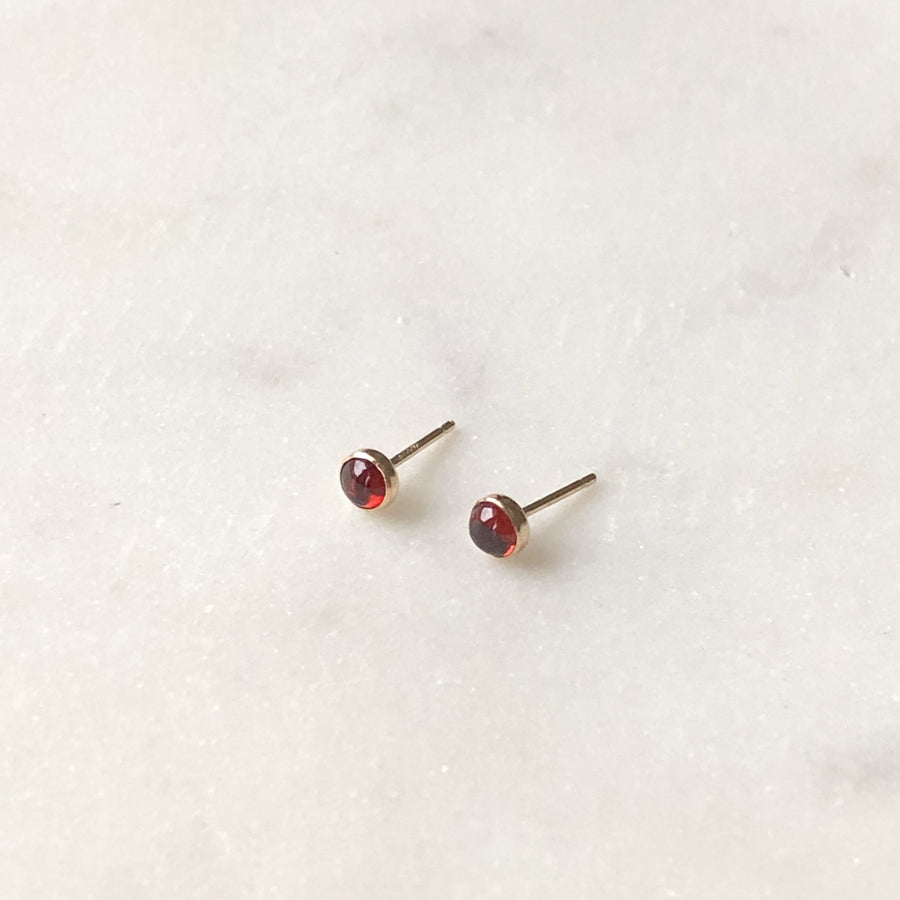 Red Garnet Studs - Token Jewelry Designs