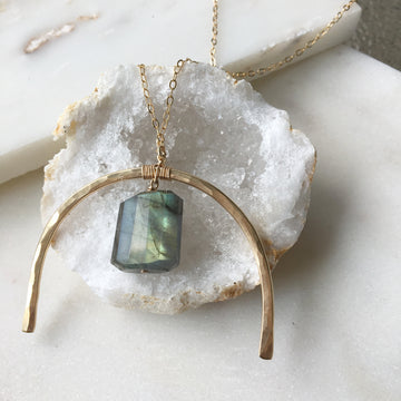 Metal + Stone Necklace w/Labradorite
