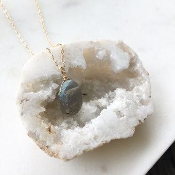 Raw Labradorite Necklace - Token Jewelry