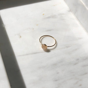 Peach Moonstone Ring - Token Jewelry Designs