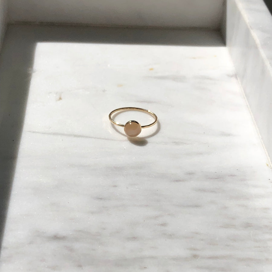 Peach Moonstone Ring / Final Sale - Token Jewelry Designs
