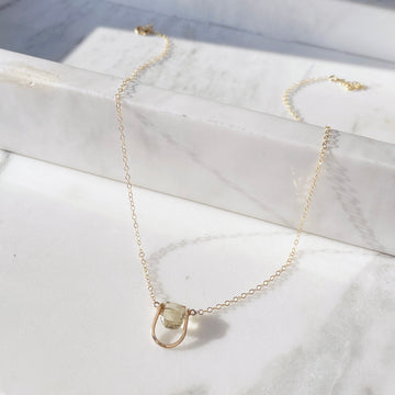 lemon quartz necklace gold chain sterling silver gold fill gemstone necklace