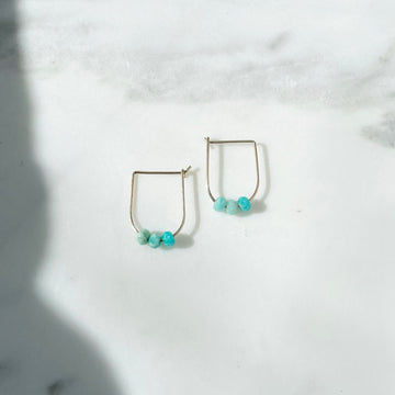 gold hoops with amazonite gemstones, turquoise earrings, handmade jewelry, gemstone jewelry, token jewelry designs, handmade in Eau Claire