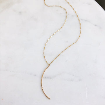 Crescent Moon Necklace with Eden Chain - Token Jewelry
