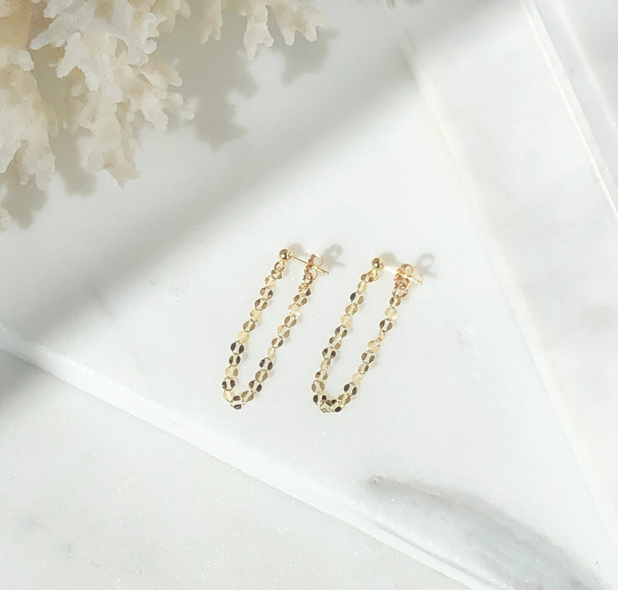 Sparkle Chain Studs - Token Jewelry Designs