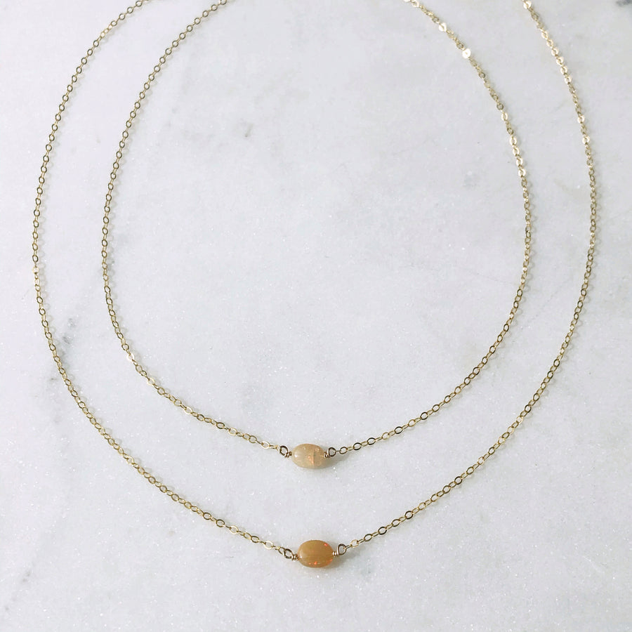 Tiny Opal Necklace - Token Jewelry