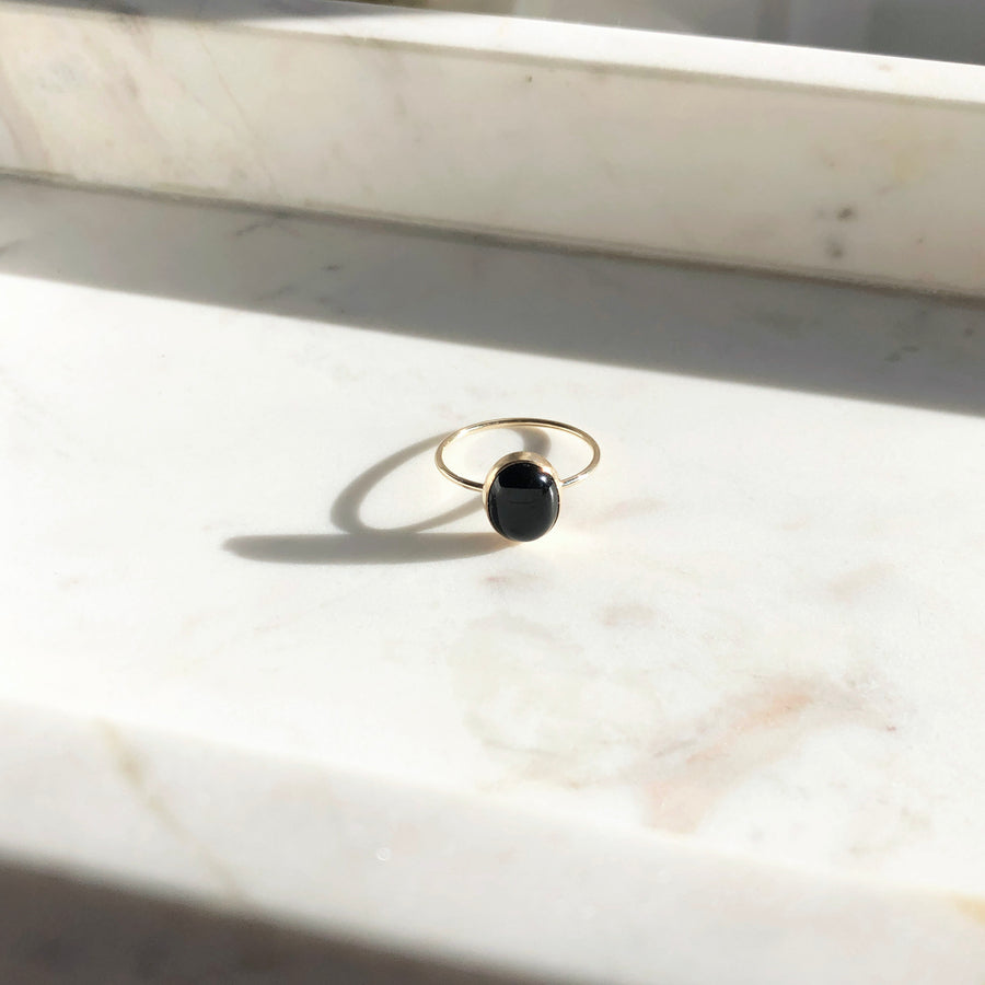 Black Agate Ring - Token Jewelry