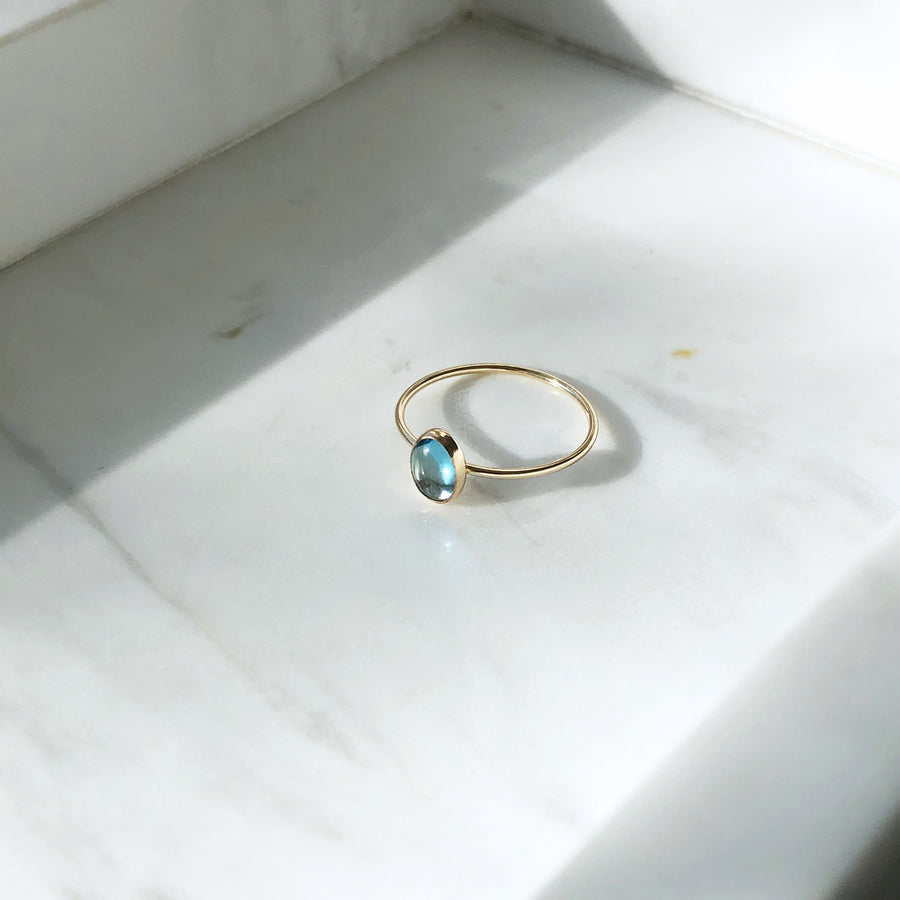 Blue Topaz Oval Ring - Token Jewelry Designs